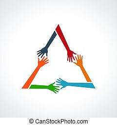 Vector Multiracial Human Hands in a Triangle.