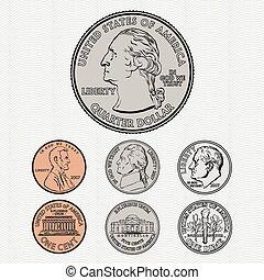 vector, muntjes, achtergrond