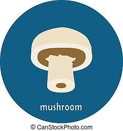 Vector mushroom icon isolated on white background.