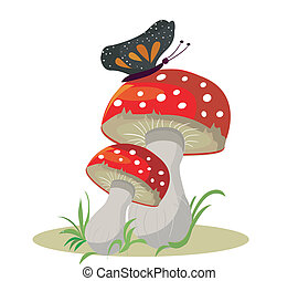 Vector. Mushrooms with butterfly