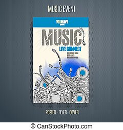 Vector music background for poster or flyer