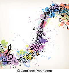 Vector Music Background with Notes - Vector Illustration of...