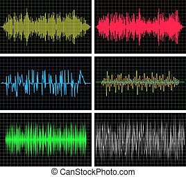 vector music backgrounds of audio sound waves pulse,...