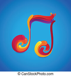 Vector music concept - musical note symbol made of rainbow...