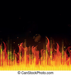 Vector Music Equalizer with Fire