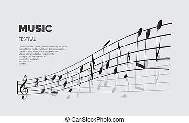 Vector music festival announcement template. Music festival text with note wave.