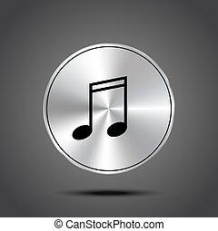 vector music icons metallic isolated on dark background