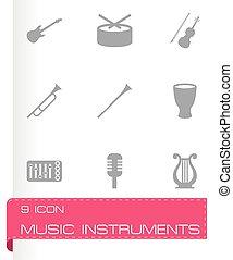 Vector music instruments icon set