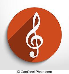 Vector music key web icon.