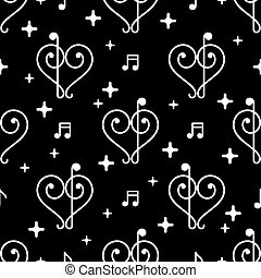 Vector Music Notes Black Pattern