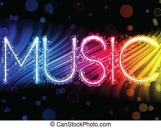 Music Party Abstract Colorful Waves on Black Background - ...