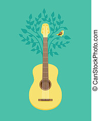 Vector music poster in flat retro style - guitar and bird on...