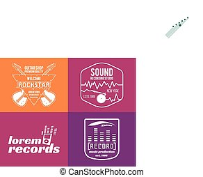 Vector music production logos set Musical label icons. Music...