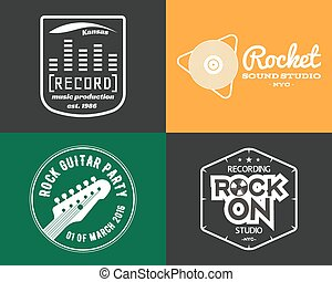 Vector music production studio logos set  musical label icons  music