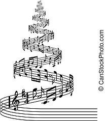 vector music score Christmas tree