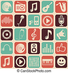 Vector music seamless pattern with icons and pictograms