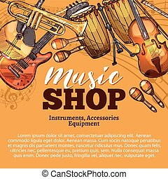 Vector music shop sketch of musical instruments - Music shop...