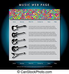 Vector music web site design template