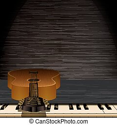 musical background piano keys and guitar