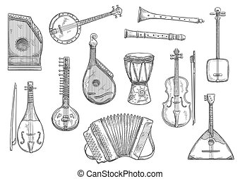 Vector musical instruments sketch design - Musical...