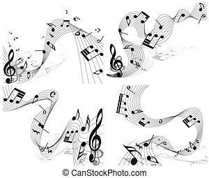 notes staff - Vector musical notes staff background for...