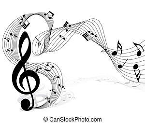 notes staff - Vector musical notes staff background for ...