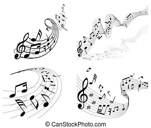 notes staff - Vector musical notes staff background set for ...