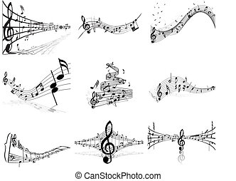 notes staff - Vector musical notes staff backgrounds set for...
