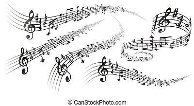 Vector musical score decorations - Five black vector musical...
