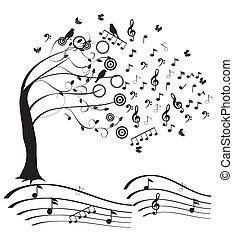 music - vector musical tree