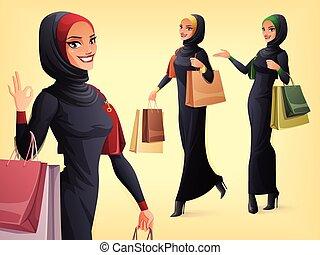 vector, musulmán, poses., conjunto, diferente, mujer hermosa