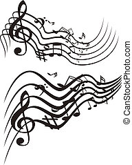 vector, muziek, theme., illustration.