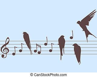 vector, muzieknota's, en, vogels