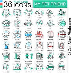 Vector my pet friend flat line outline icons for apps and web design. Pet icon.