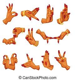 vector, Namaste, mujer, yoga, Ilustración, idioma, mudra, o,...