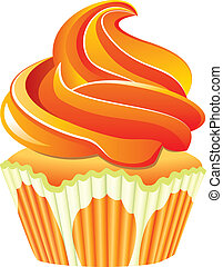 vector, naranja, cupcake
