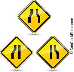 Vector narrow road sign - Vector illustration of narrow road...