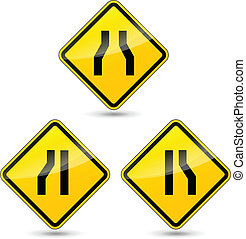 Vector narrow road sign - Vector illustration of narrow road...