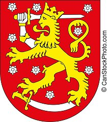 Vector national coat of arms of Finland