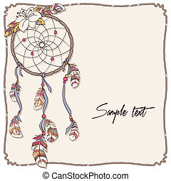 native american indian dreamcatcher background - vector...