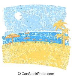 .vector, natur, wasserlandschaft, symbol, tropischer strand, schirme