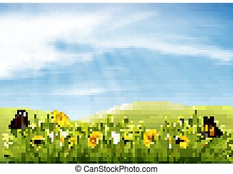 vector., natura, wiosna, tło, butterflies., kwiaty, krajobraz