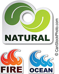 vector natural leaf ocean wave flame fire stickers