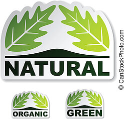 vector natural leaf stickers