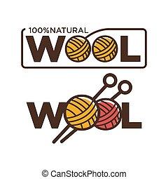 vector, natural, porcentaje, agujas, hilos, 100, lana, calidad