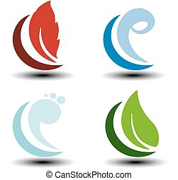 Vector natural symbols - fire, air, water, earth - nature...