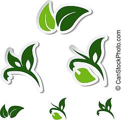 Vector natural symbols - leaf, plant - stickers