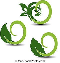 Vector natural symbols, nature circular elements with leaf and plant