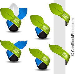 Vector natural symbols - tape with leaf