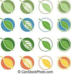 Vector natural symbols with leaf